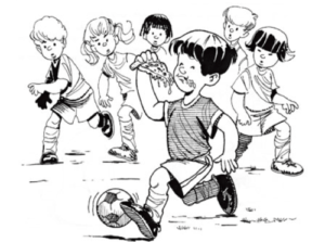 Illustration of child eating pizza while running and playing soccer
