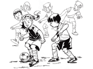 Illustration of boy and girl actively playing soccer in opposite teams