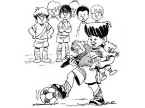 illustration of small child holding his toys while playing soccer