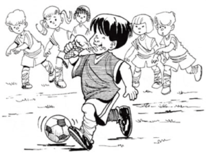 Illustration of child eating ice cream in cone while running and playing soccer
