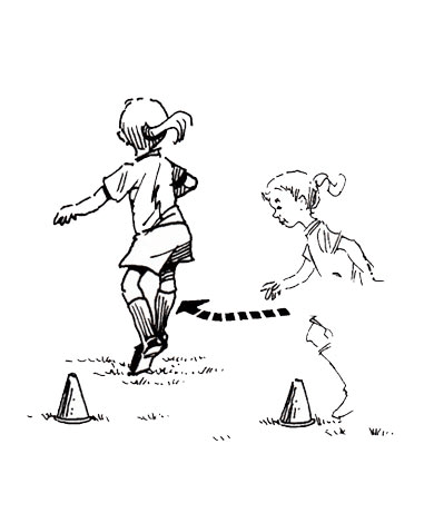 Illustration of girl running between cone markers