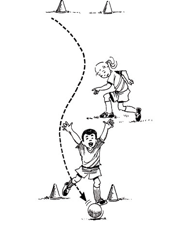 Illustration of boy hitting the marker goal with his soccer ball