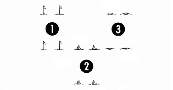 Illustration of flags and cones to use as markers small sided game
