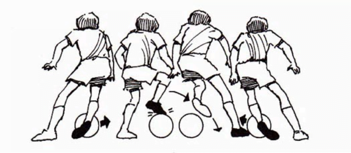 Illustration of 4 kids playing soccer from behind