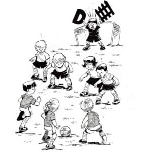 Illustration of children playing soccer with goalkeeper yelling