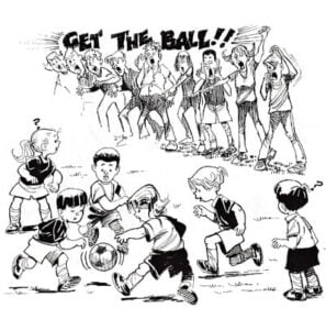 Illustration of children playing soccer with parents cheering