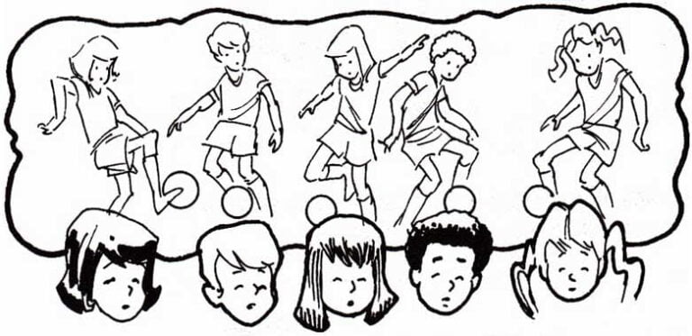 illustration of 5 children heads thinking about soccer practice