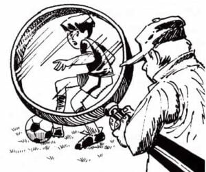 Illustration of coach observing child playing soccer under magnifying glass