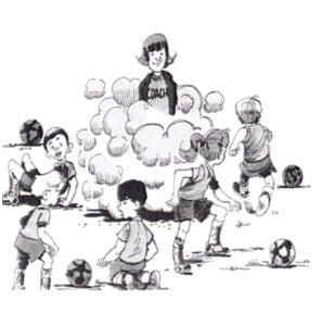 Illustration of kids running around parents playing soccer kicking up dust