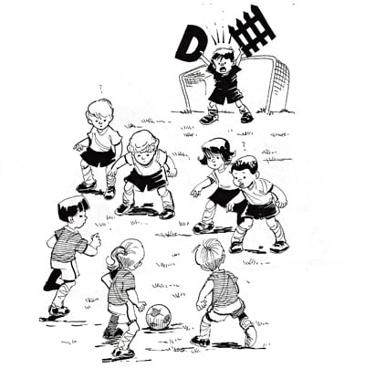 Illustration of kids playing soccer with goalkeeper yelling