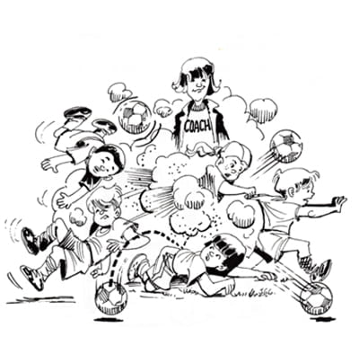Illustration of kids fighting over soccer ball with coach watching