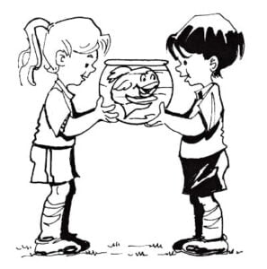Illustration of 2 kids in soccer clothes holding a fish bowl