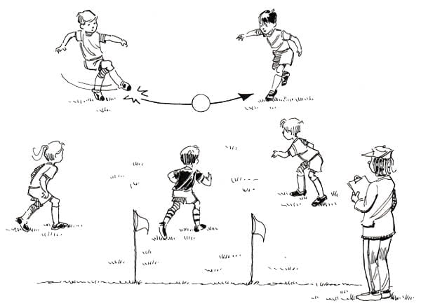 Illustration of 5 kids playing soccer with the coach watching them