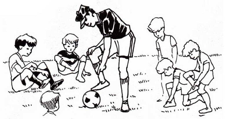 illustration of coach with ball surrounded by children