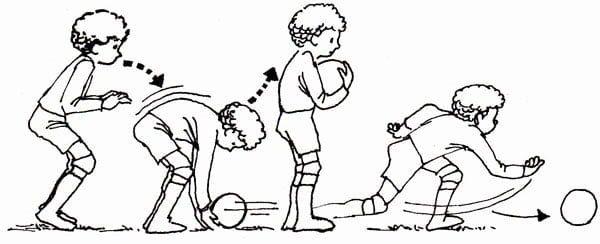 Illustration of child doing a technique sequence