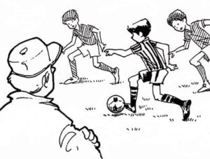 Illustration of kids playing soccer while being watched by the coach