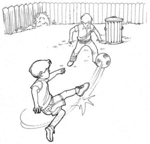 Illustration of child kicking soccer ball to a friend