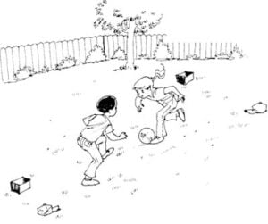 Illustration of two kids playing soccer in the backyard with set markers