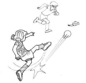 Illustration of a girl kicking a ball to her friend