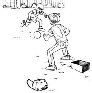 Illustration of two kids playing soccer in the yard with set markers close up