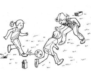 Illustration of 3 kids playing soccer