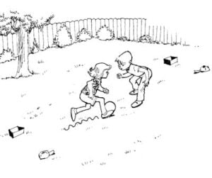 Illustration of two kids playing soccer in the yard with set markers