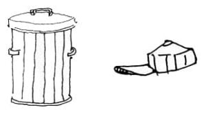 Illustration of a trash can and a hat